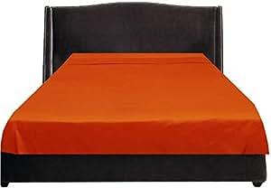 Brightlinen Orange Emperor (215 X 215 Cm) Flat Sheet Solid 1pcs