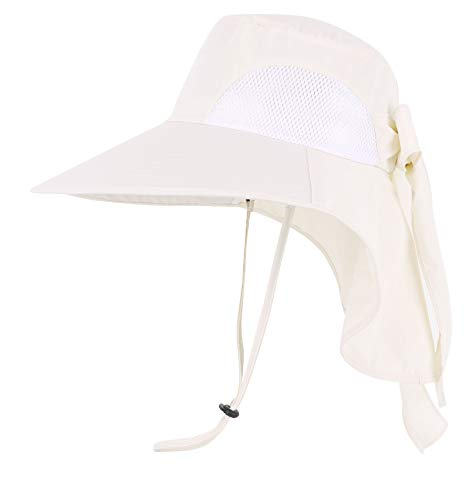 Womens Foldable Flap Cover UPF 50+ UV Protective Wide Brim Bucket Sun Hat Cream