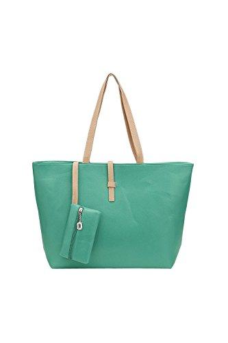 TOOGOO(R) verde Grande borsetta Spalla Borsa PU Pelle Totalizzatore con Piccolo Portafoglio Borsa per Donne