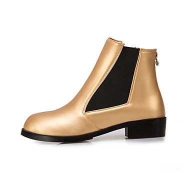 Leatherette amp;xuezi Flat Winter Office Women's Career Black Fashion Black Gll Low Gold Zipper amp; Boots Fall Dress Boots Heel 0zTqyYxd