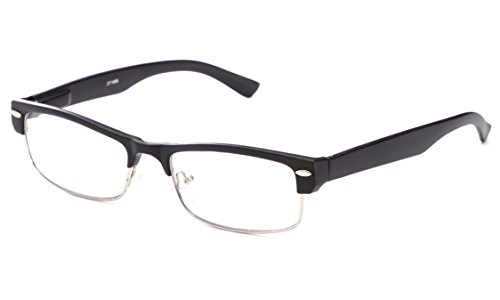 IG Unisex Half Frame Stylish Designer Inspired High Fashion Spring Temple Clear Lens Glasses in Matte - Stylish Black Glasses