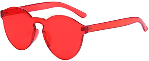One Piece Rimless Sunglasses Transparent Candy Color Eyewear (bright red) Transparent Mens Sunglasses