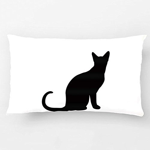 ALEX Throw Pillow Case Decorative Cushion Cover Cotton Polyester Sofa Chair Seat Rectangle Pillowcase Design With Silhouette Of A Black Cat. Custom Personalized Pillow Cover Sized 12X20 -