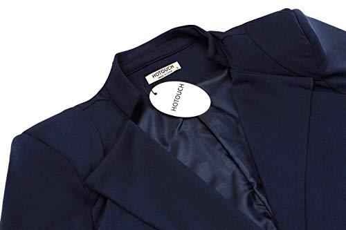 Giovane Eleganti Comodo Giaccone Hipster Giacca Blu Donna Cappotto Manica Tailleur Primaverile Fit Slim Solidi Business Moda Blazer Scuro Colori Giacche Pulsante Autunno Lunga Da Women xOwqq80d5