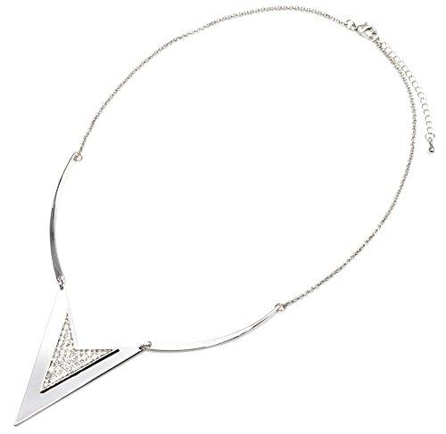 CC1650E - Collier Plastron Fine Chaîne avec Triangle Chevron Métal Strass Argenté