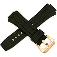 Swiss Legend 28MM Black Silicone Watch Strap Stainless Rose Gold Buckle fits 46mm Trimix Diver Watch