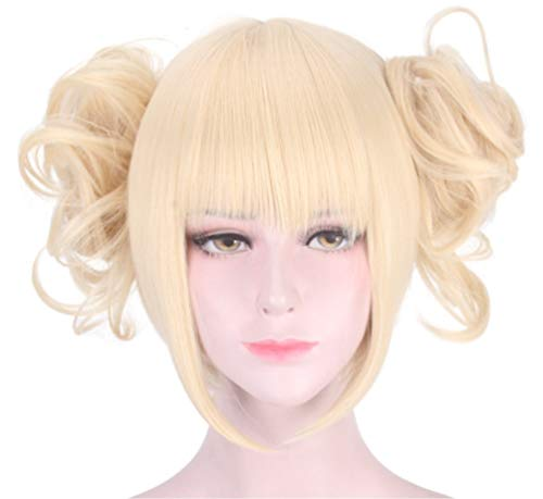 Women's Yellow Blonde Cosplay Wig for My Hero Academia Cross My Body, Clip on Ponytail Anime Cosplay Wigs with Free Hair Cap- wig027 ()