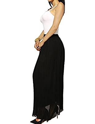 Womens Chic Solid Color Full Length Pleated Casual Skirt With Elastic Stretch Waist