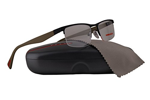 Prada PS52FV Eyeglasses 54-18-140 Black Rubber w/Beige Temples w/Demo Clear Lens UA21O1 VPS52F VPS 52F PS 52FV (Prada Reading Glasses For Men)