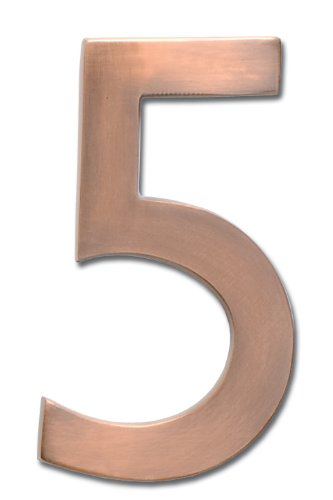 Architectural Mailboxes 3585AC-5  Brass 5-Inch Floating House Number 5, Antique Copper