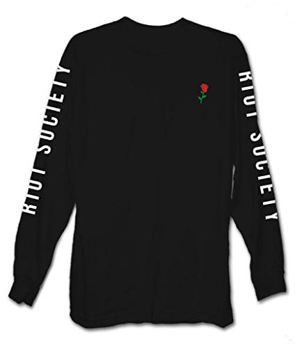 Riot Society Rose Embroidered Mens Long Sleeve T-Shirt - S
