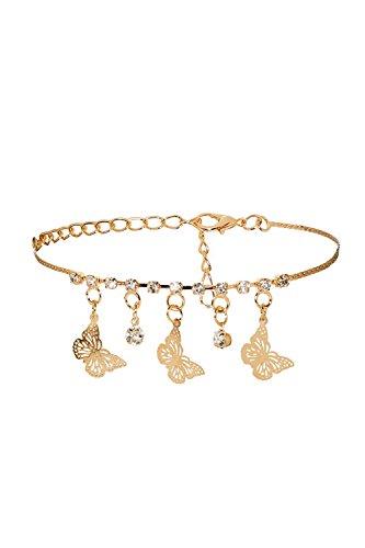 Anklet Feet Bracelet Dangling Butterfly Charm Rhinestone Pendant Women Jewelry (Golden)