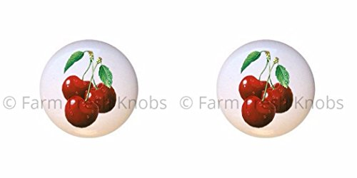 SET OF 2 KNOBS - Bing Cherries Design #1 Fruit - Food and Drink - DECORATIVE Glossy CERAMIC Cupboard Cabinet PULLS Dresser Drawer KNOBS