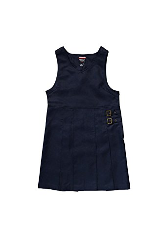 French Toast Little Girls' Double Buckle Tab Jumper, Navy, 5