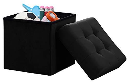 Ornavo Home Foldable Tufted Velvet Square Storage Ottoman Cube Foot Rest Stool Seat – 15 x 15 x 15 Black Velvet