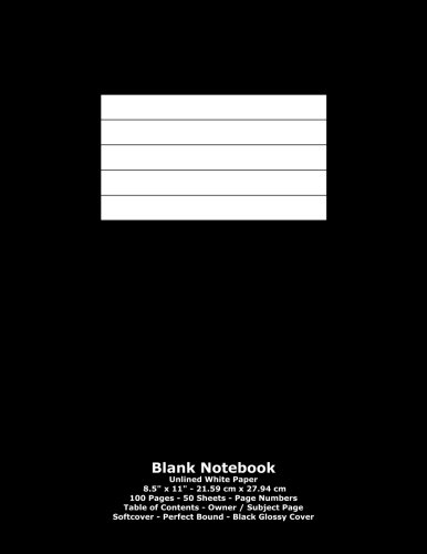 """Price comparison product image Blank Notebook: Unlined White Paper - 8.5"""" x 11"""" - 21.59 cm x 27.94 cm - 100 Pages - 50 Sheets - Page Numbers - Table of Contents - Black Glossy Cover"""