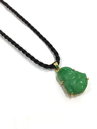 Pendant Chinese Feng Shui Jade Stone Lucky Charm Necklace Money Buddha for Good Health and Wealth