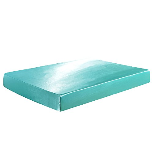 YOMIMAX Luxury Soft Satin Silky Fitted Sheet Ultra Blue Fitted Sheet Twin