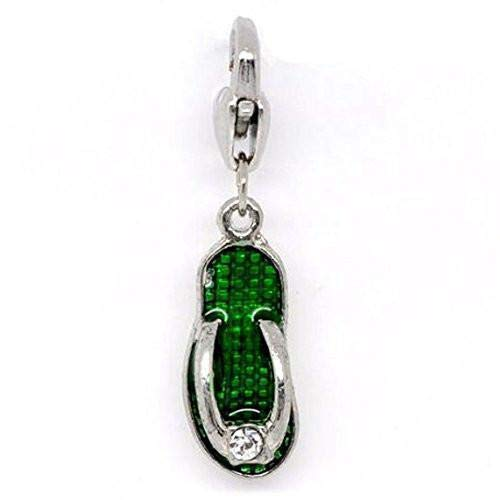 Clip on Green Flip Flop Shoe Pendant for European Jewelry w/Lobster Clasp for Jewelry Making Bracelet Necklace DIY Crafts