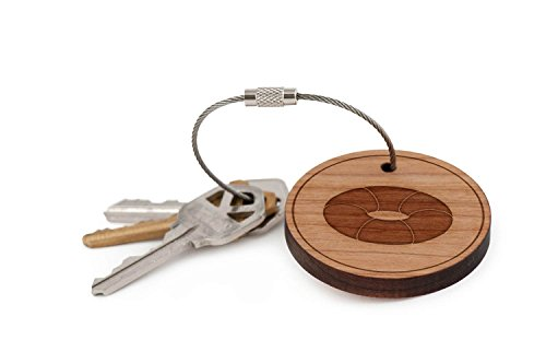 Toroid Keychain, Wood Twist Cable Keychain - Large