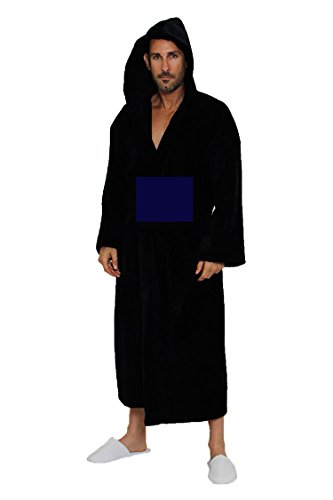 Spa and Resort Hooded Terrycloth Bathrobe. Full Length 100% Turkish Cotton. Colors Available (Navy Blue) (Turkish Hooded Robe compare prices)