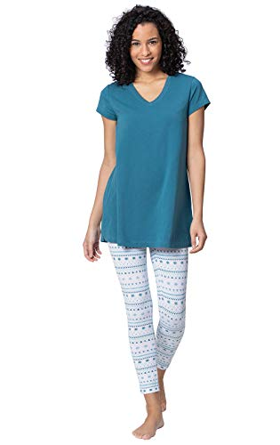 Addison Meadow Women Pajamas Set - Short Sleeve Pajamas for Women, Teal, MD 8-10