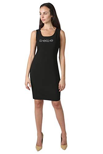 bebe Women's Sleeveless Short Slim Knit Little Black Logo Dress Black L (Knit Dress Bebe)