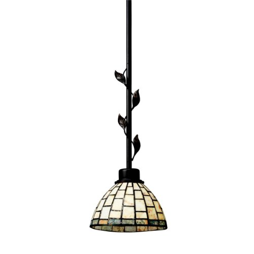 Kichler  65305 1-Light Botanical Reflections Art Glass and Cut Stone Mini Pendant, Olde Bronze