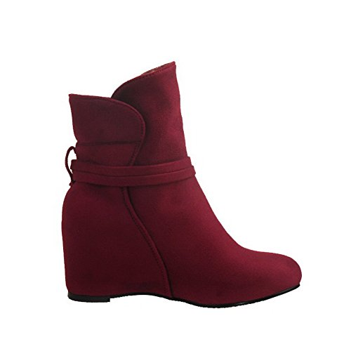 Allhqfashion Women's Low-top Solid Pull-on Round Closed Toe High-Heels Boots Red KSkhy