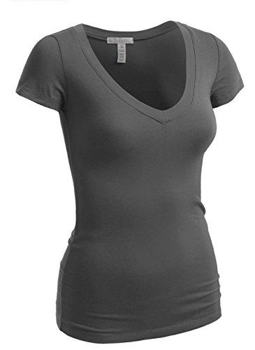 Emmalise Women's Plain Short Sleeve V Neck T Shirts - Chrc, M
