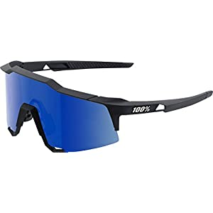100% Speedcraft Sunglasses: Soft Tact Black Frame with Ice Mirror Lens Spare