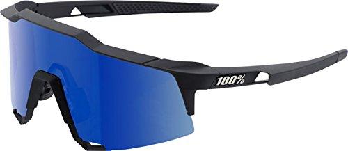 100% Speedcraft Sunglasses: Soft Tact Black Frame with Ice Mirror Lens - Sunglasses Percent 100