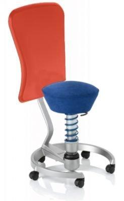 Aeris Swopper Classic - Bezug: Microfaser / Royal-Blau | Polsterung: Tempur | Fußring: Titan | Spezial-Rollen für Teppichböden | mit Lehne und rotem Microfaser-Lehnenbezug | Körpergewicht: MEDIUM