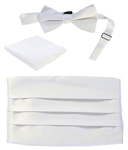 Gioberti Men's Adjustable Satin Cummerbund Set With Formal Bow Tie and Pocket Square, White