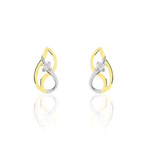 HISTOIRE D'OR - Boucles d'Oreilles Or et Diamant - Femme - Or 2 couleurs 375/1000