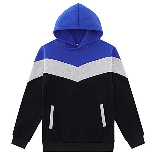 Jubestar Hoodie Sweatshirt Jungen Pullover Kontrastfarbe Hoodie Warme Baumwolle mit Taschen Geschenke für Mädchen Kontrastfarbe 9-10 Jahre