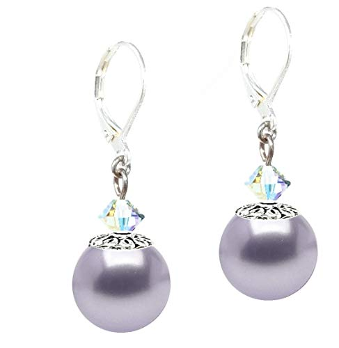Drop Earrings Made With Swarovski (tm) Crystal Pearls - Lavender (E613)