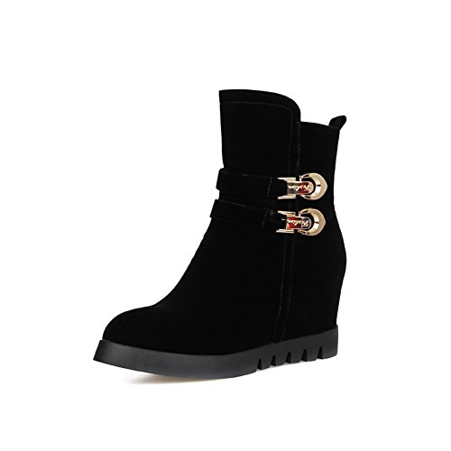 1TO9 Womens Heighten Inside Platform Buckle Imitated Suede Boots Black