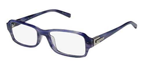 Trussardi 12524 Mens/Womens Designer Full-Rim Shape Ophthalmic Signature Emblem Gorgeous Eyeglasses/Eyeglass Frame (52-17-135, Light/Dark Violet)