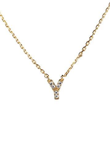 Essential Cubic Zirconia Initial Pendant Necklace (Y) (Roberto Coin Initial Necklace)