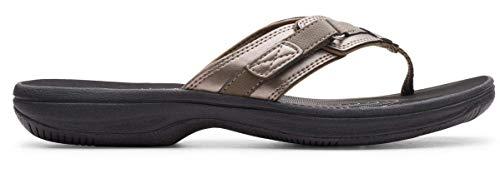 Clarks Women's Breeze Sea Flip-Flop Pewter Limited Edition Black 7 M US
