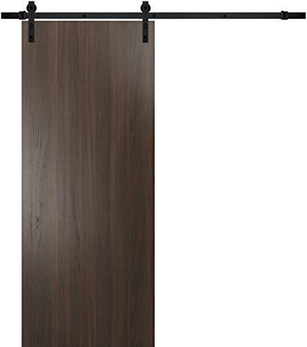 Wood Barn Door 42 x 96 with Rail 8FT | Planum 0010 Chocolate Ash | Track Sturdy Heavy | Closet Solid Modern Interior…