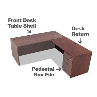 Alera Desk - Alera Valencia Collection full Office desk bundle Includes 1 Front Desk Table Shell 1 Pedestal Box File and 1 Desk Return (Medium Cherry - Office Desk Bundle)