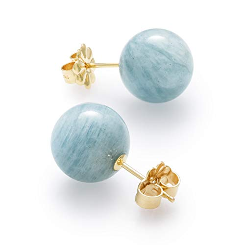 14K Yellow Gold 10mm Genuine Milky Aquamarine Blue Gemstone Stud Earrings