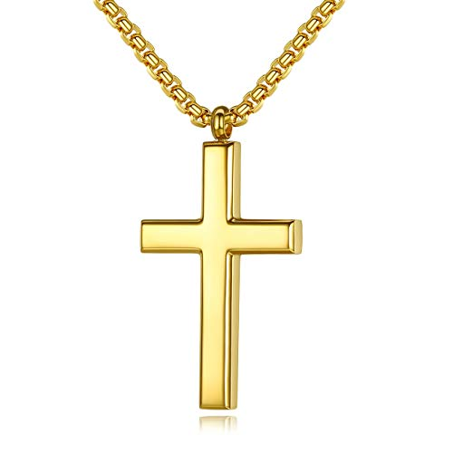 REVEMCN Simple and Classic Stainless Steel Cross Pendant Necklace for Men Women with 20'' - 24'' Chain (22, Gold Tone - Rolo Cable Chain)