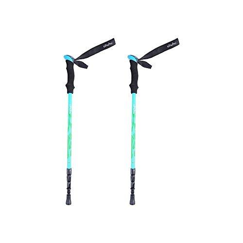 Ohuhu® Trekkingstöcke verstellbar Spazierstock Wanderstock Wanderstöcke Teleskopstöcke erweiterbar, leicht verstellbare für Trekking und Wanderungen, 1 Paar (blau)