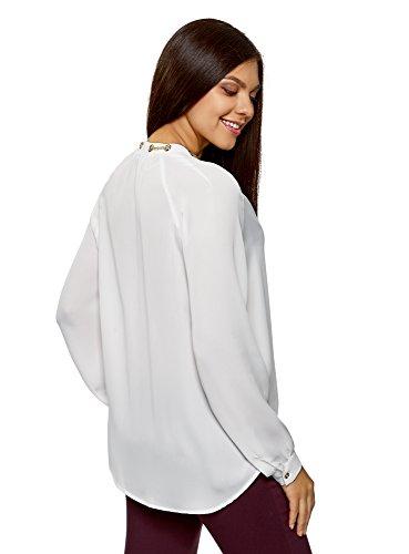 Femme avec en oodji Ornements Tissu Collection Blanc 1200n Fluide en Chemisier Mtal aBwwxTRF