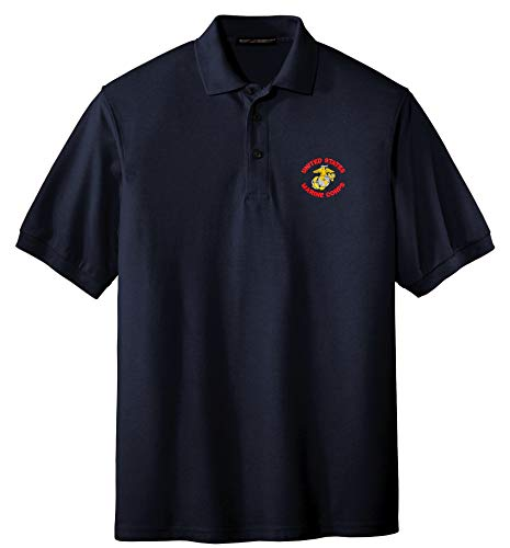 (Spiffy Custom Gifts Mens U.S. Marine Corps Embroidered Polo Shirt Large Navy)