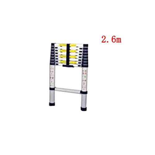 (GSHWJS Telescopic Ladder Single-Sided Family Bamboo Section Up and Down Ladder Engineering Loft Straight Ladder Aluminum Alloy Step Stool (Size : 2.6m))