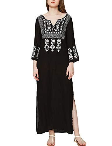 Bsubseach Black Embroidery Long Sleeve V Neck Swimsuit for sale  Delivered anywhere in Canada